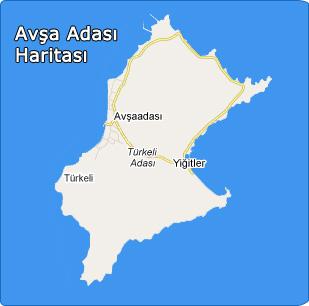 Avşa Adası Haritası